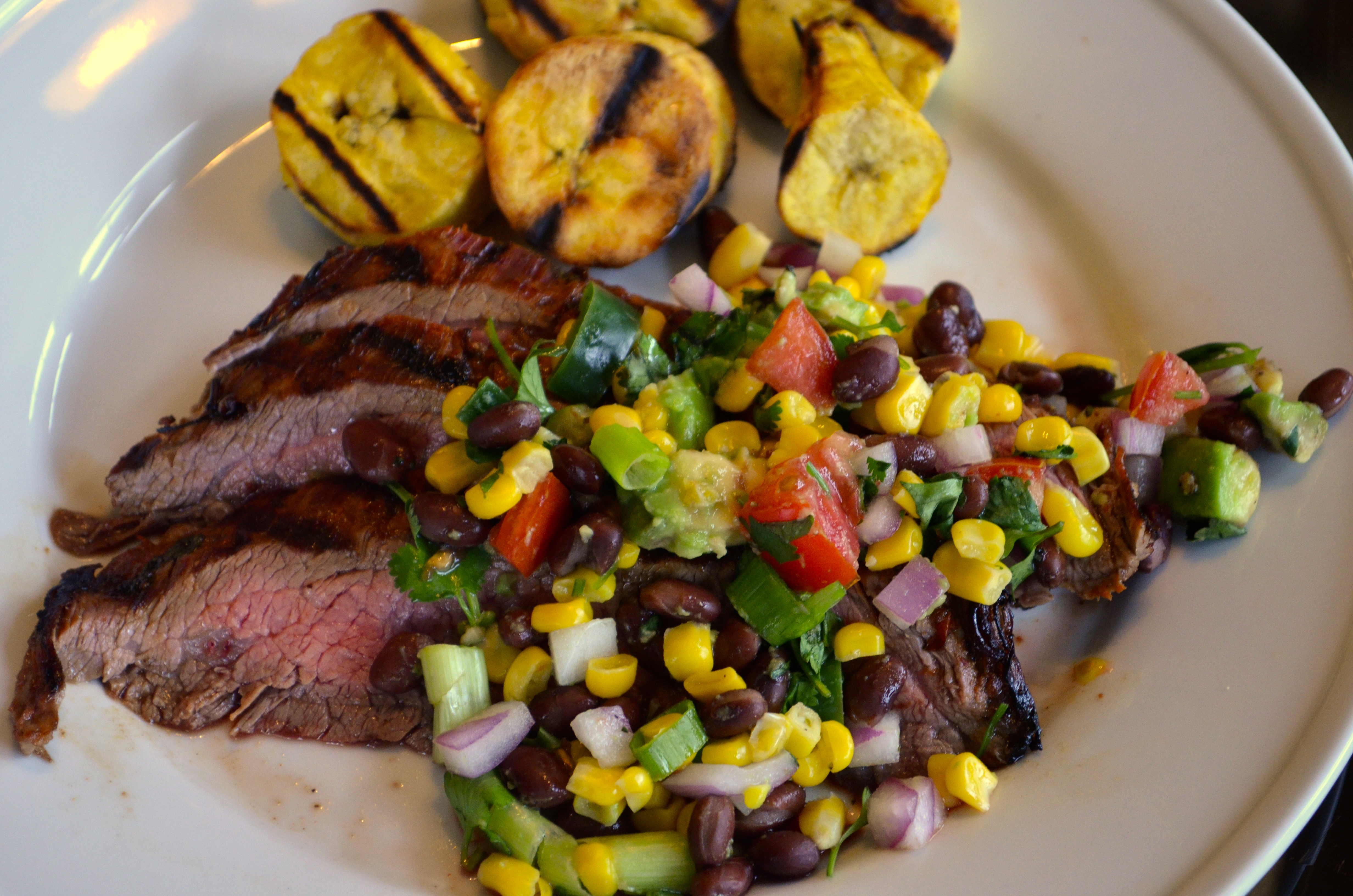 steak grilled flank steak with black beans corn and tomatoes grilled ...
