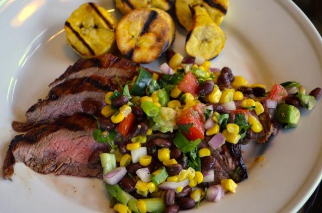 Grilled Flank Steak, Corn & Black Bean Salsa, Grilled Plantains